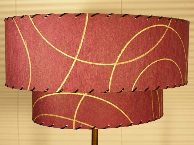Circular Bottoms Up in Raspberry with Gold Arcing Lines